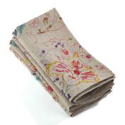 Natural Colour Printed Floral Design Cloth Dinner Napkin, 50cm Square