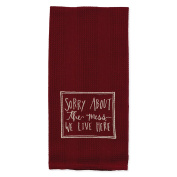 Burgundy Sorry About the Mess 48cm x 70cm Embroidered Cotton Waffle Dish Towel