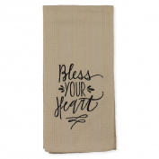 Black Bless Your Heart on Beige 46cm x 70cm Embroidered Cotton Waffle Dish Towel