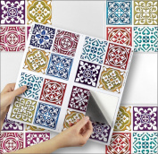 """MOROCCAN MOSAIC sheet of 4 Transfer Tile Stickers for 6"""" x 6"""" (15cm x 15cm) tiles 3M Self Adhesive sheet of four tile sticker transfers for Kitchens & Bathrooms Fully wipeable, steam and heat resistant, non see through material. 35 NEW STYLES available .."""