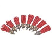 Godagoda Antique Bronze Colour Velvet Tassels Pack of 10pcs Red
