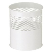 V-Part VB 270510 Waste Paper Bin Semi-Perforated 10 Litres White Metal