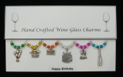 Happy Birthday Themed Wine Glass Charms Set of 6 Handmade Multi Colour