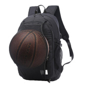Valleycomfy Young Men Boy Canvas Sport Backpack With Foldable Basketball Net And USB Charging Interface For Leisure/Sport/Travel Shoulder Bags