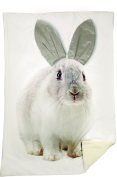 Grey Easter Bunny Rabbit Printed Blanket with 3D Ears 50 X 60