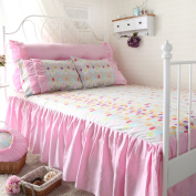 YFFS Cotton Princess Bed Skirt Single Piece Cotton Active Printing Bed Sheet Bedding,F-180*200cm