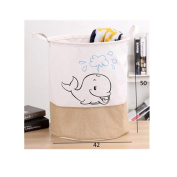 Saint Kaiko Cotton Laundry Hamper Foldable with Handle Laundry Basket Laundry Bin Round Storage Basket Dirty Clothes Holder Storage Bin for Nursery Toys Clothing