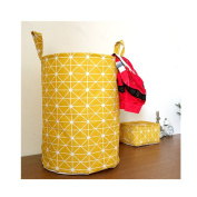 Saint Kaiko Cotton Laundry Hamper Foldable with Handle Laundry Basket Laundry Bin Round Storage Basket Dirty Clothes Holder for Nursery Toys Clothing in Geometric Shapes