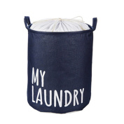 Saint Kaiko Cotton Laundry Hamper Foldable with Lid Laundry Basket Laundry Bin Round Storage Basket Dirty Clothes Holder for Nursery Toys Clothing