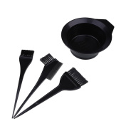 Dealglad 4Pcs Hairdressing Salon Hair Colouring Dyeing Brush Comb Mixing Bowl Hair Colour Dye Tint Bleach Tool Set Kit Black