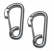 2 Pieces Stainless Steel 316 Spring Hook Carabiner 1cm Marine Grade Safety Clip