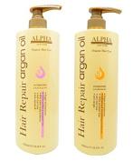 HAIR REPAIR ARGAN OIL HYDRATING SHAMPOO AND CONDITIONER BY ALPHA NEW YORK SET 2PC. 1000 ml. / 33.8 fl. oz.