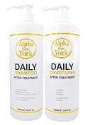 DAILY SHAMPOO AND CONDITIONER AFTER HAIR KERATIN TREATMENT BY ALPHA NEW YORK SET of 2PC. 1000 ml. / 33.8 fl. oz.