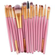 Xjp 15PCS Makeup Cosmetic Brushes Set Tool with Foundation Brush Eyebrow Brush Eyeshadow Brush Lip Brush