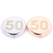 50th Birthday Compact Mirror in Silver or Rose Gold ...