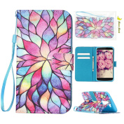 LG K10 2016 Case, Moon mood Flip Wallet Stand Cover Skin PU Leather Cases and Covers for LG K10 2016 With Credit Card Holder Slot & Hand Strap