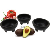 Molcajete 3pc Salsa Bowl for Guacamole Sauce Chips Deep Mexican Tortilla Black