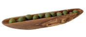 Gourmet Living Olive Boat Tray | Olive Canoe handmade Olive Wood | Each Wooden Olive Bowl Server is Unique
