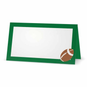 Football on Green Place Cards - TENT STYLE - 10 PACK - White Blank Front Solid Colour Border - Placement Table Name Seating Stationery Party Supplies - Occasion Dinner Event