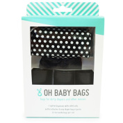Oh Baby Bags Nappy Bag Clip-On Dispenser Gift Box with Disposable Bags for Dirty Nappies - Recycled Plastic - Black Dot Duffle plus 48 Black Unscented Bags