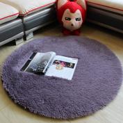 Noahas 1.2m Luxury Round Area Rugs Super Soft Living Room Bedroom Carpet Woman Yoga Mat, Grey-Purple