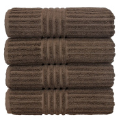Luxury Hotel & Spa Towel Turkish Cotton Bath Towels - Cocoa - Striped - Set of 4