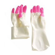 Generic Household Gloves Kitchen Dish Washing Gloves Cleaning Gloves Lining Long Latex Home Garden Tools for Women Pink