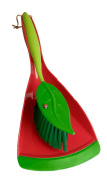 Vigar Flower Power Handy Set, Small 2-Piece Dustpan and Brush Set, 17cm by 12cm by 37cm , Red, Green