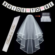 Bachelorette Party Decorations Bridal Shower Supplies, BIGTHING White Cascade Bridal Wedding Veil with Comb & Bride To Be Satin Sash and BRIDE TO BE Banner