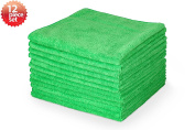 Highly Absorbent Microfiber Cleaning Cloth, 41cm x 41cm , Green Colour, Pack of 12