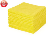 Highly Absorbent Microfiber Cleaning Cloth, 41cm x 41cm , Yellow Colour, Pack of 12