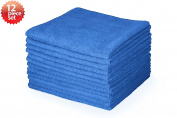 Highly Absorbent Microfiber Cleaning Cloth, 41cm x 41cm , Blue Colour, Pack of 12