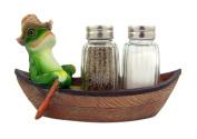 Croak Creek Canoe Resin Frog in Canoe Figurine with Glass Salt and Pepper Shaker Set, 18cm