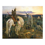 Russian artists series - Viktor Vasnetsov - A Knight at the Crossroads, 1878 - Painting By Numbers by MOLLYS 41cm x 50cm 26 Colours with Wooden Frame