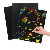 Scratch Art Magic Paper Rainbow Colours Children Artcrafts 10-Sheet