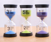 Lonnom Sand Timer Set 3 Pack Colourful Sandglass Hourglass Sand Clock 1 / 3 / 5 Minutes for Kids, Classroom, Kitchen, Games, Brushing Timer, Home Office Decoration Timers