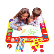 Magic Water Drawing Mat/Water Drawing Painting Mat(80cm x 60cm )with 4 Colour, Magnetic Water Drawing Learning Painting Doodle Scribble Boards with Magic Pen for Kids