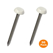 50 x 30mm White UPVC Poly Top Pins Nails Plastic Headed Polytop stainless Steel
