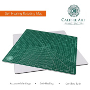 Calibre Art Self Healing Rotating Cutting Mat, Perfect for Quilting & Art Projects, 18x 18