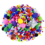 Caydo 1400 Pieces 6 Sizes Multicolor Pom Poms Assorted Pompoms with 4 Sizes Wiggle Googly Eyes for DIY, Crafts and Decorations