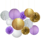 Fascola 12 pcs White Purple Gold Tissue Paper Pom Pom Paper Lanterns Circle Paper Garland Mixed Package for Purple Themed Party Wedding Paper Garland, Bridal Shower Decor Purple Baby Shower Decoration