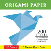 Origami Paper Pack with Double Sided Colour - 200 Sheets - 20 Colours - 15cm Square Paper for Art Projects
