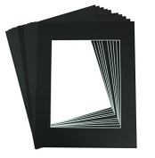 Golden State Art, Acid Free, Pack of 10 11x14 Black Picture Mats Mattes with White Core Bevel Cut for 8x10 Photo