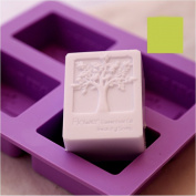 6MILES 2017 Newest Design Purple 4 Cavity Flower Tree DIY Silicone Soap Mould Cupcake Baking Mould Muffin Pan Handmade Art Craft Soap Making Moulds Kitchen Tool Set