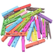 Zicome 7.6cm Natural Colourful Wooden Clothespins, Set of 50 Pins, Assorted Colours