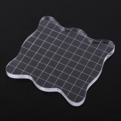 Acrylic Stamp Block With Grips And Grid Square Shape Transparent Acrylic Block Pad Essential Tool For Stamping And Scrapbooking
