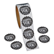 1 Roll ~ Thank You Chalkboard Theme Stickers ~ 100 Round 3.8cm Stickers ~ New / Shrink-wrapped