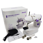 Portable Sewing, Amado Portable Sewing Double Speed Mini Sewing Machine White and Purple Design