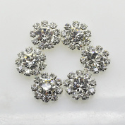 AngHui ShiPin 50pcs 12mm Round Rhinestone Buckle Buttons Slider for Sew On Silver Plated Alloy Rhinestone Button Flatback Crystal Button For Baby Hair Accessories