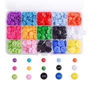 WXJ13 3 Sizes Resin Button 14 Colours Button Crafting with Plastic Storage Box, 1105 Pieces
